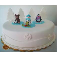 Коледна торта със снежен човек
